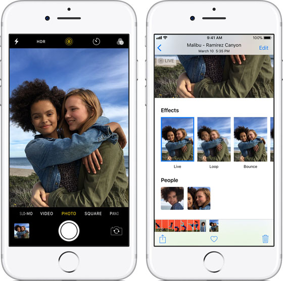 Native iPhone Camera App Live Photos